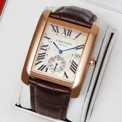 AAA Cartier Tank MC automatic mens watch W5330001 pink gold silver dial