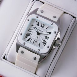 AAA Cartier Santos 100 midsize watch stainless steel white rubber strap