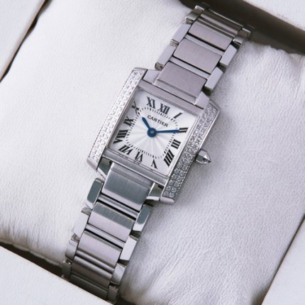 AAA Cartier Tank Francaise 18K white gold swiss womens watch with diamonds