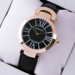 AAA Ronde Solo de Cartier watch for women pink gold black dial and leather strap
