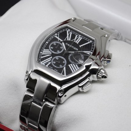 AAA Cartier Roadster Chronograph steel black dial imitation watch for men