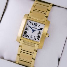 AAA Cartier Tank Francaise mens watch imitation 18K yellow gold