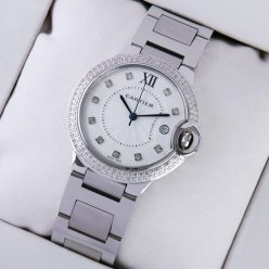 AAA Ballon Bleu de Cartier medium steel watch with two rows diamonds on bezel