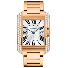 AAA Cartier Tank Anglaise diamond bezel 18K pink gold mens watch WT100004