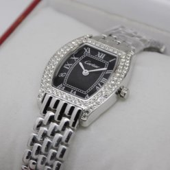 AAA Cartier Tortue small diamond watch for women steel black dial