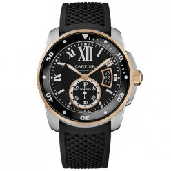 AAA Calibre de Cartier Diver watch W7100055 pink gold and steel black rubber strap