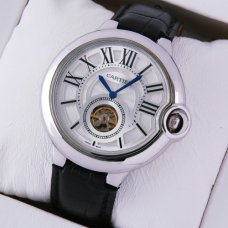AAA Ballon Bleu de Cartier Flying Tourbillon watch silver dial steel black leather strap