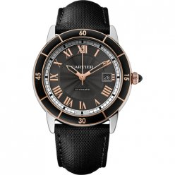 AAA Ronde Croisiere de Cartier watch two tone steel and pink gold black leather W2RN0005