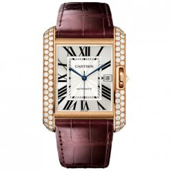 AAA Cartier Tank Anglaise diamond watch WT100021 18K pink gold brown leather strap