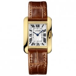 AAA Cartier Tank Anglaise watch for women W5310028 18K yellow gold brown leather strap