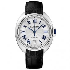AAA Clé de Cartier 40mm 18K white gold WGCL0005 watch with black leather strap