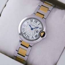 AAA Ballon Bleu de Cartier small quartz watch 18kt yellow gold and steel