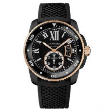 AAA Calibre de Cartier Diver watch W2CA0004 ADLC steel and pink gold black rubber strap