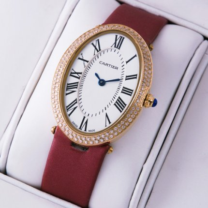 AAA Cartier Baignoire 18K pink gold diamond womens watch crimson satin strap