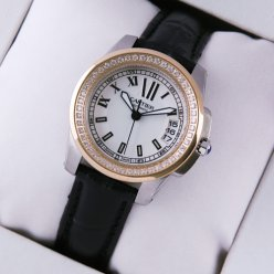 AAA Calibre de Cartier diamond womens watch silver dial two-tone pink gold and steel