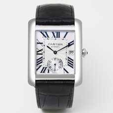 AAA Cartier Tank MC automatic mens watch W5330003 steel silver dial