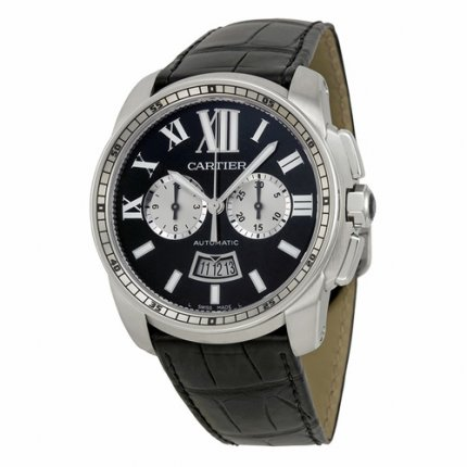 AAA Calibre de Cartier Chronograph watch W7100060 steel black dial and leather strap