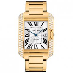 AAA Cartier Tank Anglaise diamond bezel 18K yellow gold mens watch WT100007
