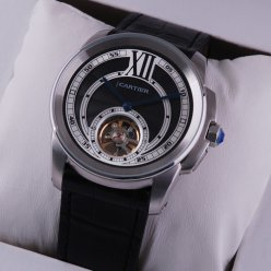 AAA Calibre de Cartier Flying Tourbillon mens watch steel black dial leather strap
