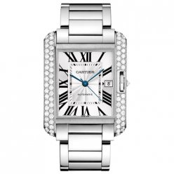 AAA Cartier Tank Anglaise diamond bezel 18K white gold mens watch WT100010