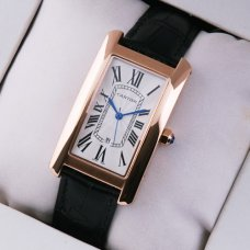 AAA Cartier Tank Americaine mens watch replica 18K pink gold