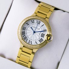 AAA Ballon Bleu de Cartier Medium Quarz gelb goldene Uhr mit Diamanten