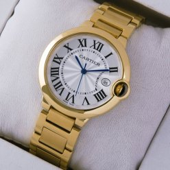 AAA Ballon Bleu de Cartier Medium Quarz uhr Replik 18 Karat Gelbgold