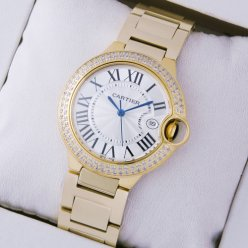 AAA Ballon Bleu de Cartier Medium uhr Diamanten 18 Karat Gelbgold