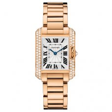 AAA Cartier Tank Anglaise Diamant-Uhr für Frauen WT100002 Rotgold 18 K