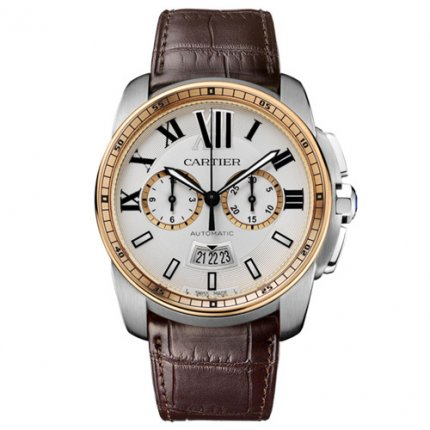 AAA Calibre de Cartier W7100043 Chronograph Uhr Rotgold und Stahl