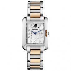 AAA Cartier Tank Anglaise Diamant uhr WT100024 zweifarbige Rotgold und Stahl