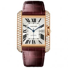 AAA Cartier Tank Anglaise Diamant uhr WT100021 Rotgold 18 K braunes Lederarmband