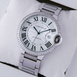 AAA Ballon Bleu de Cartier WE9009Z3 grande montre en diamant acier inoxydable