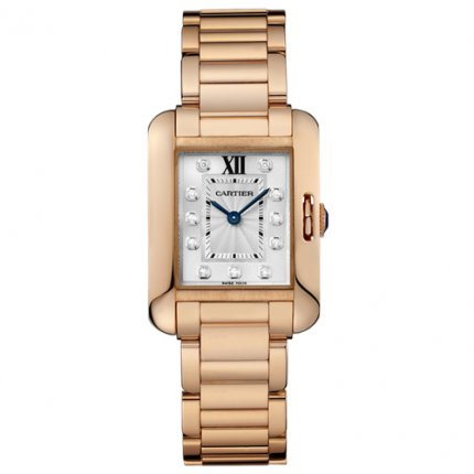 AAA Cartier Tank Anglaise Montres diamants pour les femmes WJTA0004 Or rose 18 carats