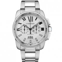 AAA Calibre de Cartier Chronographe montre acier inoxydable W7100045