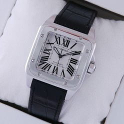 AAA Cartier Santos 100 suisse montre automatique en acier inoxydable bracelet en alligator noir