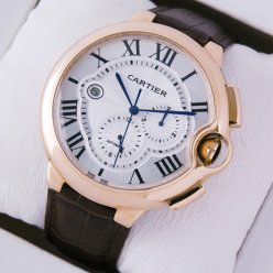 AAA Ballon Bleu de Cartier montre chronographe automatique W6920009 en or rose 18 carats