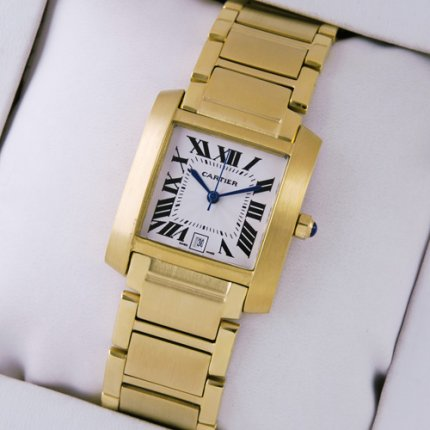 AAA Cartier Tank Francaise Hommes montres imitation Or jaune 18 carats