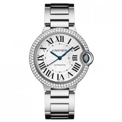 AAA Ballon Bleu de Cartier montre automatique suisse Or blanc 18 kt diamants lunette