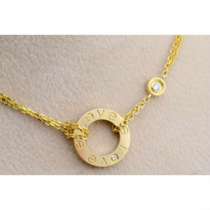 AAA Cartier Love or jaune Collier B7219500 avec deux diamants