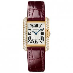 AAA Cartier Tank Anglaise diamant montres WT100013 or rose 18 carats bracelet en cuir