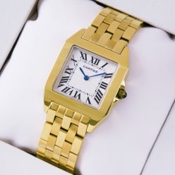 AAA Cartier Santos Demoiselle taille moyenne montre or jaune 18 carats