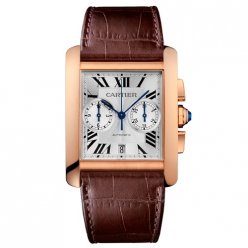 AAA Cartier Tank MC Chronographe Homme Montre W5330005 or rose cadran argenté