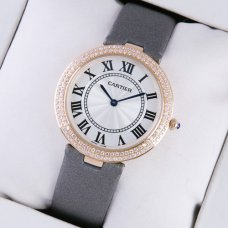AAA Ronde solo de Cartier montre en diamant pour les femmes en or rose gris tache sangle