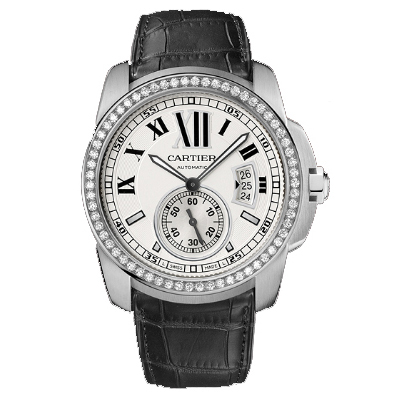 AAA Calibre de Cartier diamant Montre automatique acier WF100003