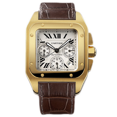 AAA Cartier Santos 100 Chronograph automatic mens watch W20096Y1 yellow gold