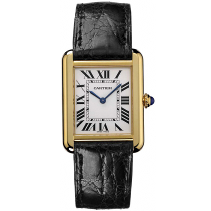 AAA Cartier Tank Solo ladies watch W5200002 18K yellow gold black leather strap