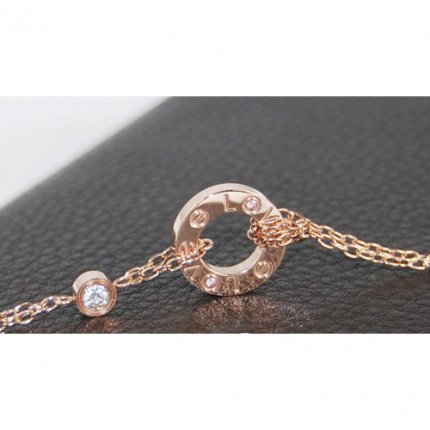 AAA Cartier Love oro rosa collana con due diamanti