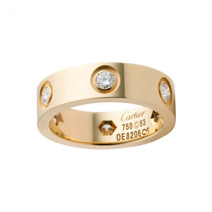 AAA Cartier Love anello in oro giallo B4025900 con sei diamanti