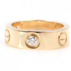 AAA Cartier Love anello in oro giallo con tre diamanti B4032400